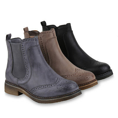 Damen Stiefeletten Chelsea Boots Profilsohle Lederoptik 818075 Schuhe