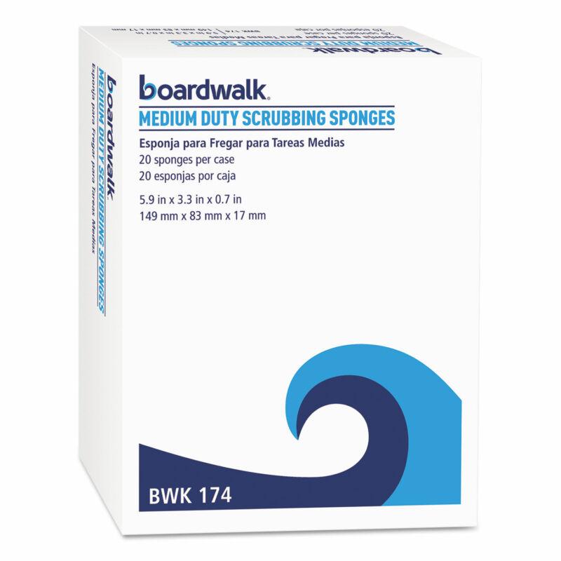 Boardwalk Medium Duty Scrubbing Sponge 3 3/5 x 6 1/10 Yellow/Green 20/Carton 174