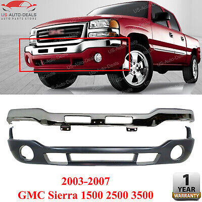 Front Bumper Cover & Valance Kit w/ FL Holes For 03-07 GMC Sierra 3500 2500 1500
