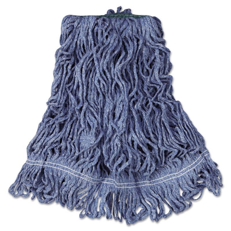 Rubbermaid Commercial Super Stitch Blend Mop Head Medium Cotton/Synthetic Blue 6