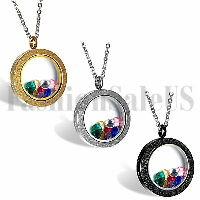 Living Memory Floating Charm Matte Glass Round Locket Pendant Necklace Charms](Floating Charm Locket Necklace)