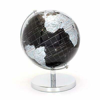CONTEMPORARY BLACK & SILVER MEDIUM GLOBE METAL BASE ATLAS TABLE DESK ORNAMENT