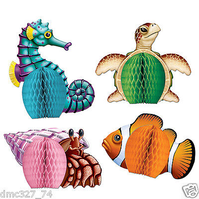 4 LUAU Under The Sea Ocean Party MINI Table Decorations SEA CREATURES Playmates