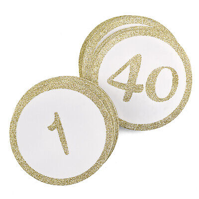 Gold Glitter Round Table Numbers Cards Wedding Party Reception 1-40 MW21866