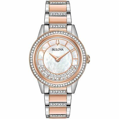 Bulova 98L246 Women's Crystal Turn Style White Quartz Watch