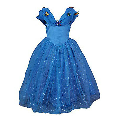 JerrisApparel Girls Youth Cinderella Blue Princess Dress Up Costume Butterfly 4T - Girls Blue Butterfly Costume