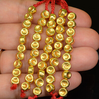 18k Solid Yellow Gold Dimpled Round Drum Spacer Beads 2 INCH Strand (10)