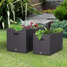 Outsunny 2 piece Square Plastic Rattan Metal Flower Pot Indoor Outdoor Plant Box