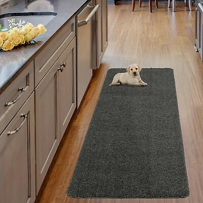 Ottomanson Luxury Collection Grey Solid Shag Runner Rug with -