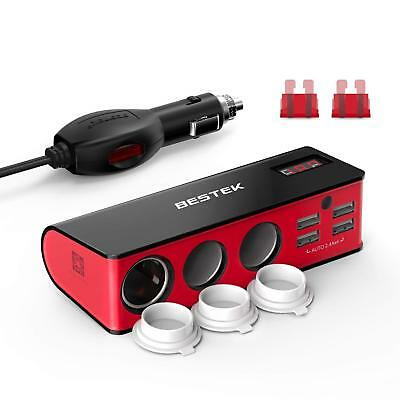 - BESTEK 12V/24V DC Car Cigarette Lighter Adapter Splitter 3 Sockets Auto Charger
