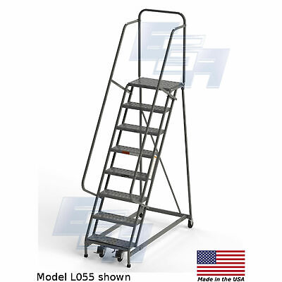 Ega L055 Industrial Rolling Ladder 8-step 26 Wide Perforated Gray 450lb.
