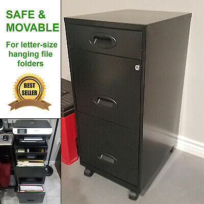 File Organizer Metal Filing Cabinet Safe Storage 3 Drawers Rolling Locking New