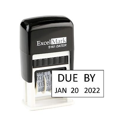 Due By - Excelmark Self Inking Date Stamp S161 Compact Size Black Ink