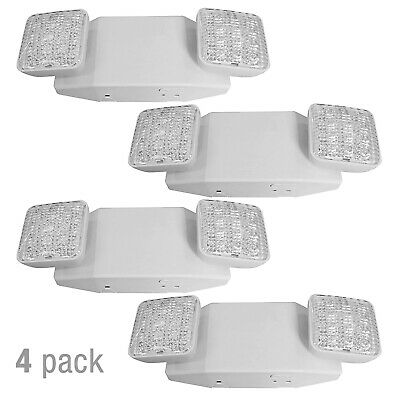 4 Pack 12 Led Emergency Light Exit Sign Light Dual Head Energy Saving Outdoor