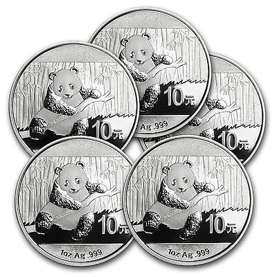 2014 1 oz Silver Chinese Panda Coin - Lot of 5 Coins - SKU #81198