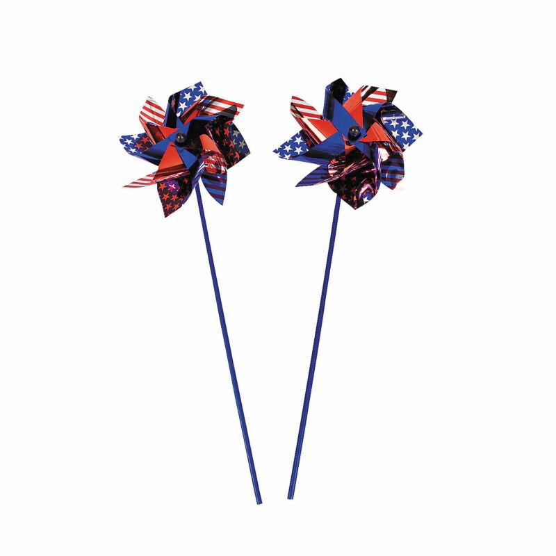 Jumbo Patriotic Pinwheels - 4th of July - Garden Outdoor Decorations - 12 Pieces