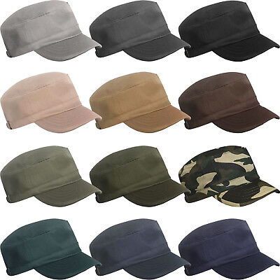 MENS LADIES WOMENS GIRLS MILITARY ARMY STYLE CAP PLAIN COTTON CADET COMBAT HAT Army Style Cap