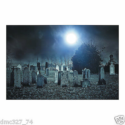 HALLOWEEN Party Decoration Prop HAUNTED CEMETERY Backdrop Photo Mural - Cemetery Halloween Party