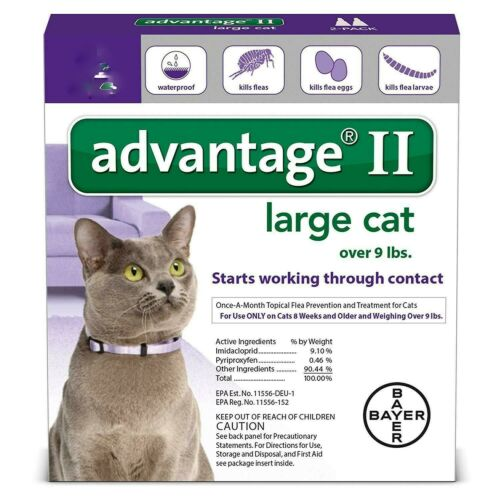 Advantage II Flea Spot Treatment for Cats, over 9 lbs (6 doses) EPA,USA