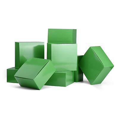 10pc Green Paper Gift Boxes with Lids 8 x 8 x 4 inches Holiday Christmas - Gift Boxes With Lids