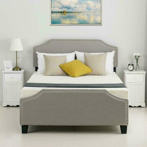 Twin Full Queen Size Platform Bed Frame Headboard Tufted Uph