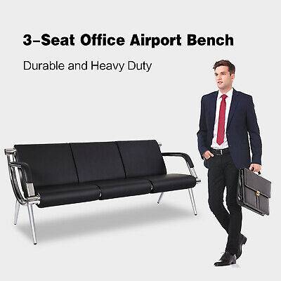 3-seat Waiting Chair Office Airport Bench Guest Reception Pu Leather Sofa Seat
