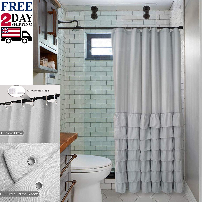 Farmhouse Style Ruffle Fabric Shower Curtain Light Grey Bathroom Decor 72 X72 Ebay