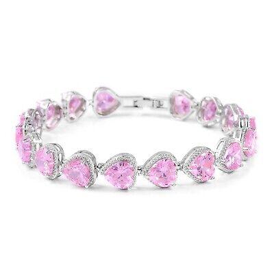 """Silvertone Cubic Zriconia CZ Pink Valentine Heart Bracelet Size 7.25"""" Ct 62.9"""