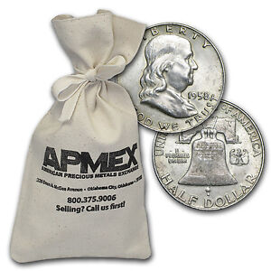 90% Silver Franklin Half-Dollars - $100 Face Value Bag - 90 Percent Silver
