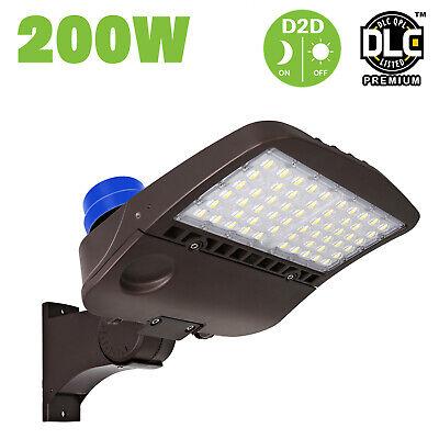 Hykolity 200W LED Parking Lot Light With Photocell Shoebox Pole Light Arm -
