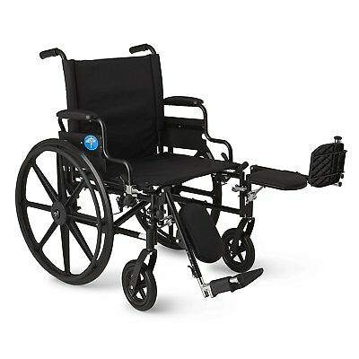 Lightweight Wheelchair w/Flip-Back Desk Arms & Elevating Leg Rests WIDE 22