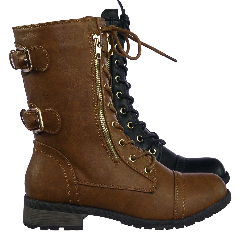 Mango71 Women's Military Lace Up Combat Boots w Lug Sole & M