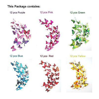 72Pcs Diy Removable Butterfly Wall Stickers Decals Room Decoration Vinyl Art