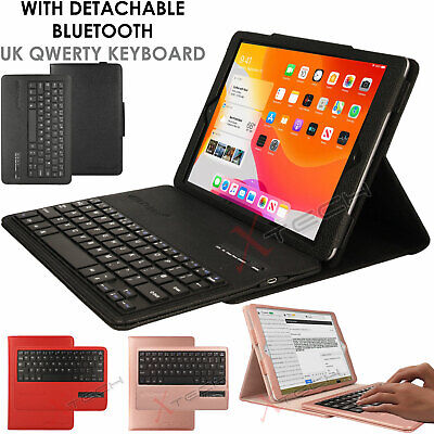 """For Apple iPad 10.2"""" 2019 7th Gen. UK QWERTY Keyboard + PU Leather Stand Case"""