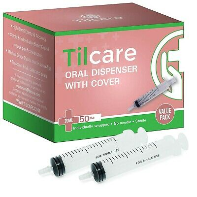 20ml Oral Dispenser Syringe With Covers 50 Pack By Tilcare - Sterile Plastic ...