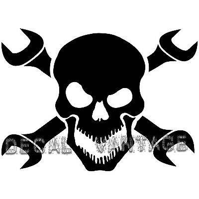 Skull and Wrench Crossbones Vinyl Sticker Decal - Choose Size & Color - Skull And Crossbones Stickers