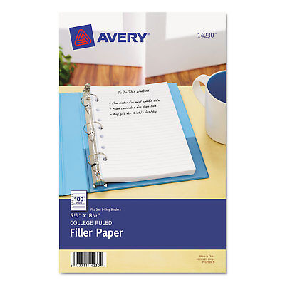 Avery Mini Binder Filler Paper 5-12 X 8 12 7-hole Punch College Rule 100pack