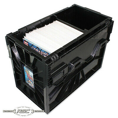 Short Comic Book Bin - Black Plastic Storage Box w/One Partition by BCW - - Plastic Book Boxes