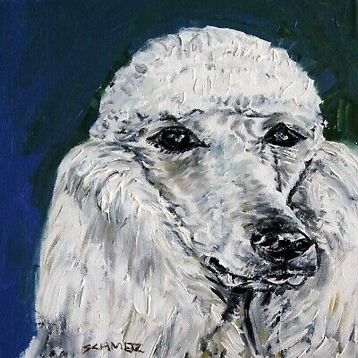 white standard poodle dog art print on ceramic modern tile gift coaster jschmetz