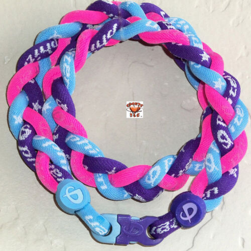 NEW Phiten Triple Braid - Purple/Carolina Blue/Hot Pink