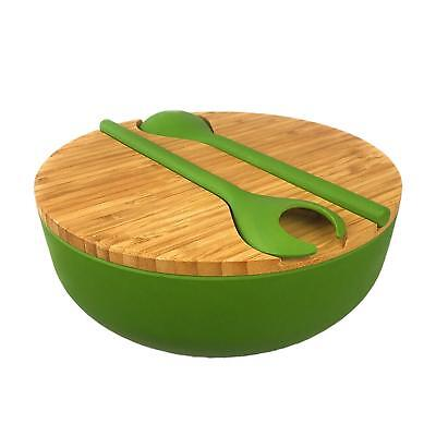 Bamboo Salad Serving Bowl Set with Lid and Utensils - Cute Wooden Bowl  Bamboo Salad Serving Bowl