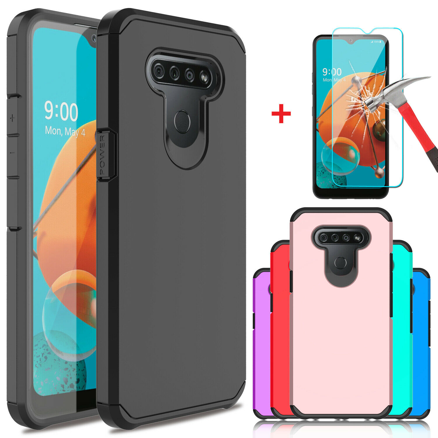For LG K51/Stylo 6/Reflect Phone TPU Case Cover,Tempered Glass Screen Protector Cases, Covers & Skins