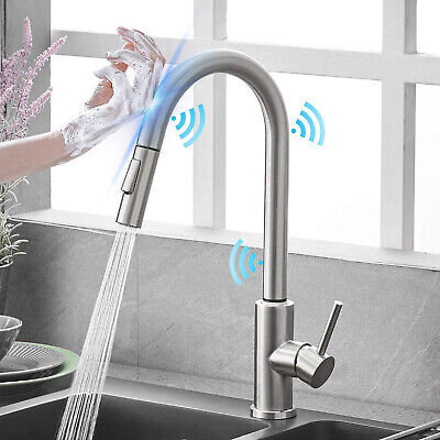 Automatic Touch Sensor Kitchen Faucet Pull Down Sprayer Sink Swivel Mixer Tap