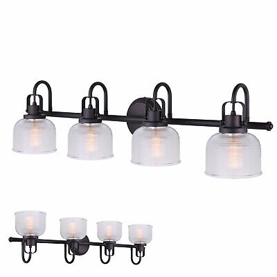 Oil Rubbed Bronze 4 Bulb Vanity Bath Light Bar Wall Fixture, Clear Glass Globes