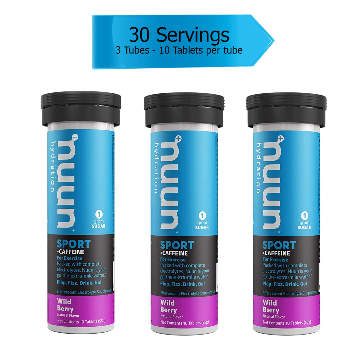 Nuun Sport: Wild Berry Electrolyte +Caffeine Drink Tablets (3 Tubes of 10 Tabs)
