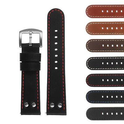 DASSARI Pilot Aviator Quick Release Leather Watch Band Strap w/ Rivets