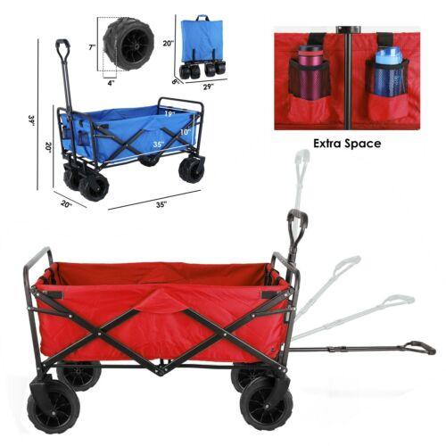 Folding Collapsible Outdoor Wagon Utility Beach Garden Cart