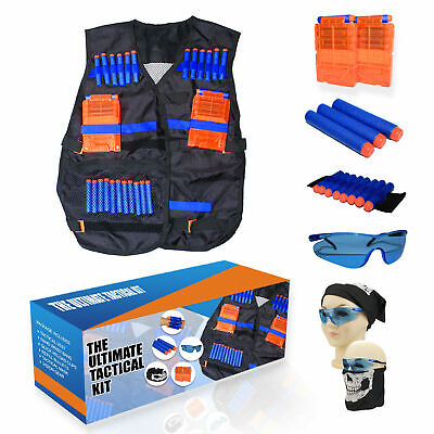 Tactical Vest Kit for N-Strike Foam Blaster Guns 40 Darts, 2 Magazines, Glasses Dart Guns & Soft Darts