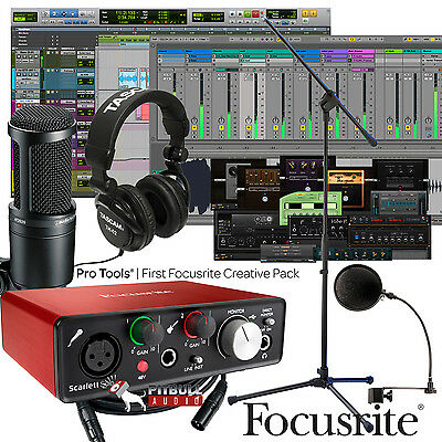 Focusrite Scarlett Solo 2Nd Usb 2X2   Mic   Stand   Home Recording Bundle Studio