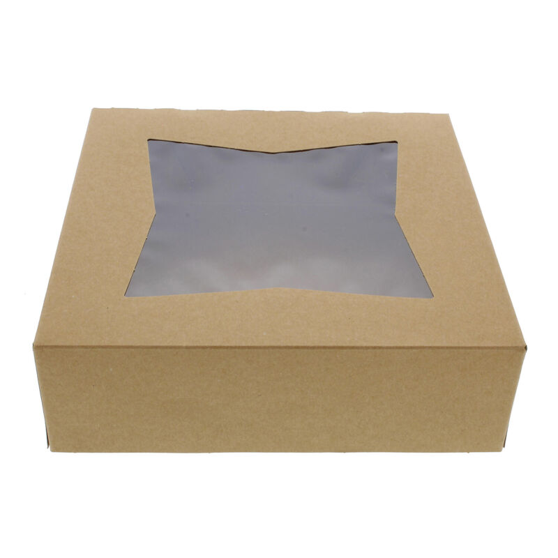 SpecialT | Easy Popup Pie Boxes with Window Pie Boxes 8x8x2.5 Inch Brown 15pk